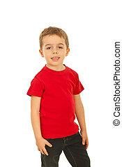 Boy in red blank t-shirt