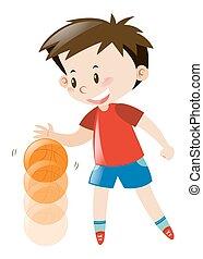 Boy in red shirt bouncing basketball