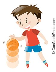 Boy in red shirt bouncing basketball