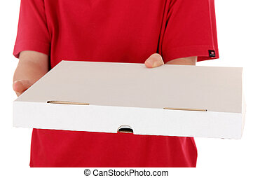 boy in red shirt delivers a pizza box, isolated on white background