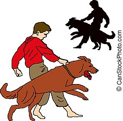 Boy in red shirt, trains a dog, character on a white background