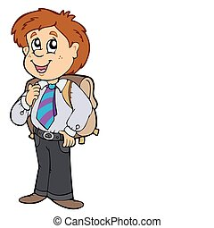 Boy in school uniform - vector illustration.