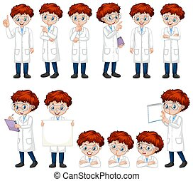 Boy in science gown doing different poses