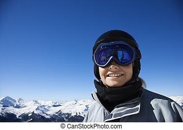 Boy in ski gear.