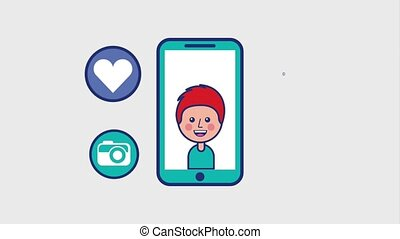 boy in smartphone camera message video player viral content...