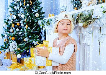 boy in snowy room