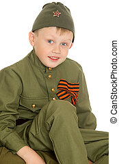boy in soldier's clothes