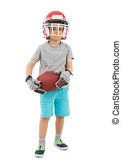 Boy In Sports Helmet Holding Rugby