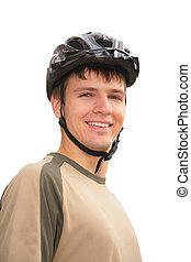 Boy in sports helmet