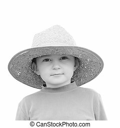 Boy in straw hat