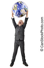 Boy in suit holding up world