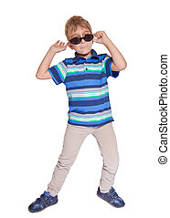 Boy in sunglasses. Isolate on white background