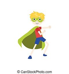 Boy In Superhero Costume With Green Cape