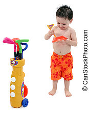 Boy in Swimsuit with Clipping Path