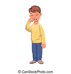 Boy in tears, crying character. Upset kid in yellow sweater. Flat vector illustration. Isolated on white background.