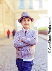 boy in the city - happy stylish boy  in the city street