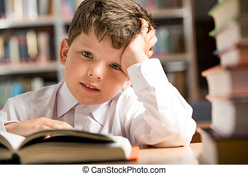Boy in the library