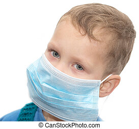 Boy in the medical mask