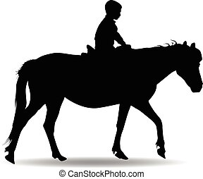 boy in the park riding a horse