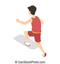 Boy in the school run on sport culture lesson