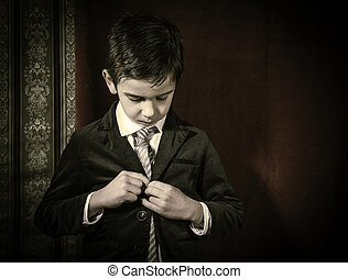 Boy in vintage suit
