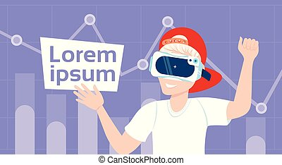 Boy In Vr Glasses Over Background With Copy Space Modern Virtual Reality Technology Concept