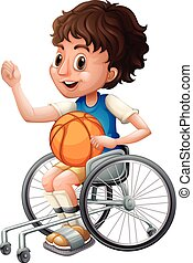 Boy in wheelchair playing basketball illustration