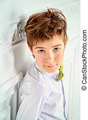 boy in white shirt