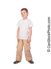 Boy in white shirt posing