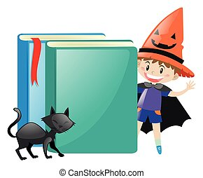 Boy in witch costume and two books