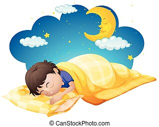 Boy in yellow bed at night time