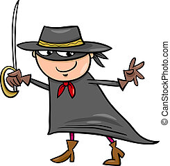 boy in zorro costume cartoon - Cartoon Illustration of Cute...