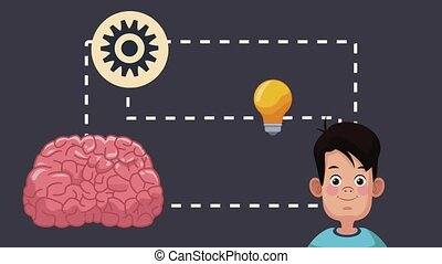 Boy intelligent brain HD animation