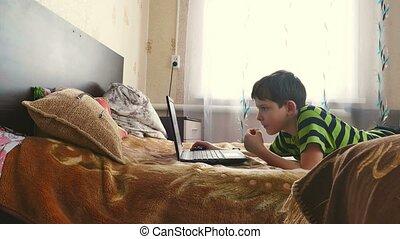 boy internet browsing is playing laptop - boy internet...
