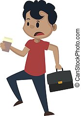 Boy is in a hurry, illustration, vector on white background.