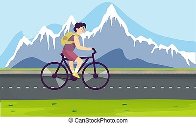 boy is riding bicycle on the roads