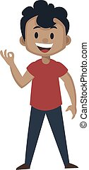 Boy is showing ok gesture with hand, illustration, vector on white background.