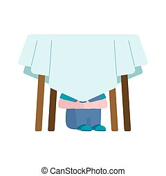 Boy is under table. Baby scared. Vector illustration
