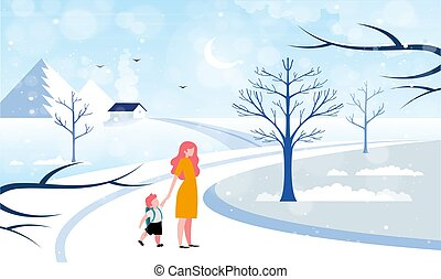 boy is walking on the road with his mother during snow