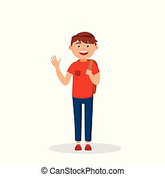 Boy is waving his hand and laughing, cartoon character isolated on white background. Happy boy in casual style vector flat illustration.