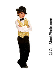 A Boy Jazz Dancer in Glitzy Costume and Bowler Hat and Bow Tie