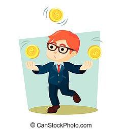 boy juggling coins