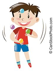 Boy juggling colorful balls