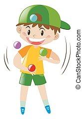 Boy juggling four balls
