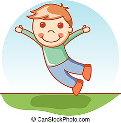 Boy jumping doodle cartoon
