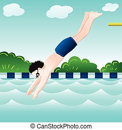 Boy jumping, into water in pool-Vector Illustration