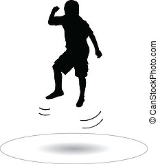 boy jumping on the trampoline silhouette vector illustration...
