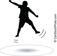 boy jumping on the trampoline