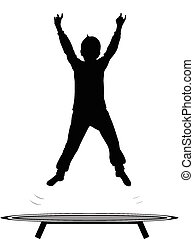 boy jumping trampoline vector silhouette isolated on white