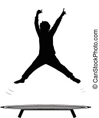 boy jumping trampoline